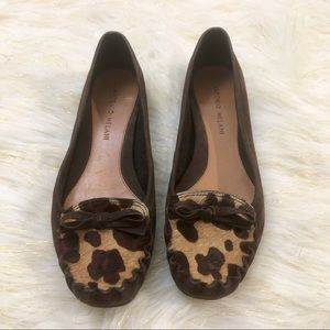 Antonio Melani | Brown Suede Animal Print Loafers
